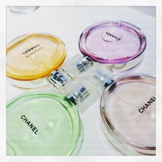 Le quattro fragranze insieme. Chanel Chance